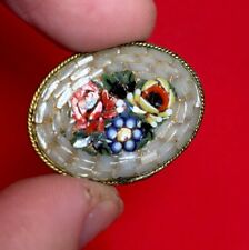 Vintage MicroMosaic Gold Brooch Italy Antique Pin Estate Sale Find Glass Flowers