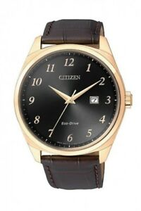 Citizen Eco-Drive Men's Gold Tone Case Brown Leather Strap 42mm Watch BM7323-11E