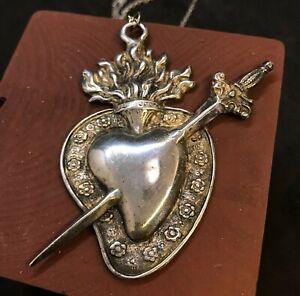 Sacro cuore collana pendolo Vintage ex voto barocco 8x8 cm fiamma spadino