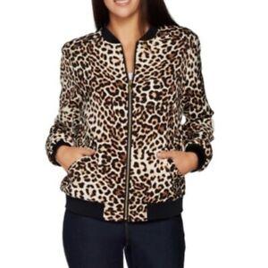 Susan-Graver-leopard-animal-print-silky-bomber-jacket-women-039-s-size-small