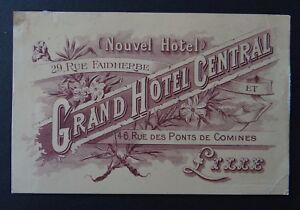 Carte De Visite Grand Hotel Central LILLE Rue