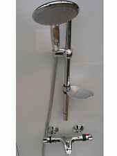 THERMOSTATIC WALL BATH SHOWER MIXER TAPS, LARGE HANDHELD, RAIL & HOSE, 092/352