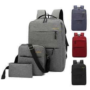 3pcs Set Men Women s Backpack Canvas Shoulder School Bookbag ... d5b34e50872ba