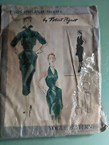 Vintage 1951 Robert Piguet Vogue Paris Original Model Pattern Dress Bolero MCM