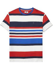 Details about T shirt TOMMY HILFIGER JEANS striped dm0dm04132 multicolor blu red white man