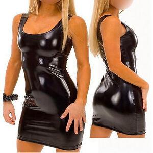 Completo-Canottiera-Simil-Latex-Lattice-Vestito-Nero-Lucido-Costume-Clubwear