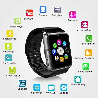 GT08 Black Touch Screen Bluetooth Smart Watch Phone Mate For Android Mobiles