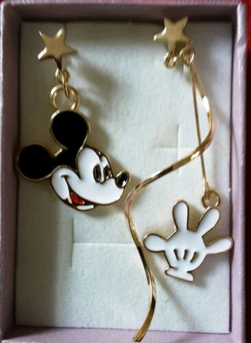 Disney Mickey Mouse Large Drop Earrings gold Christmas Comes with gift box 823