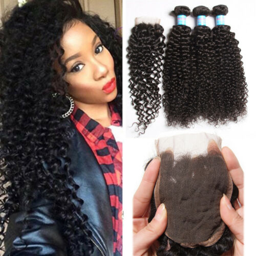 "3Bundles Brazilian 100% Human Hair Weave Extensions Curly With 44"" Lace Closure"