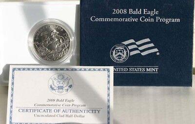 2008 S Bald Eagle Clad Half Dollar US Mint BU Commemorative Coin 50c Complete