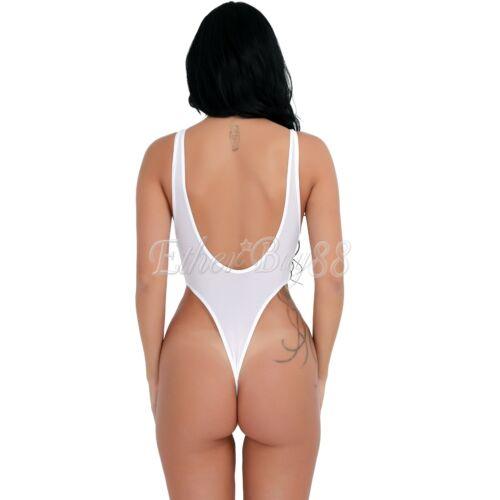 One Piece Sheer Women Turtleneck Top Bodysuit Lingerie High Cut Thong Leotard