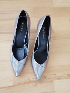 7e09172a50e Image is loading ZARA-Silver-Shiny-High-Heel-Court-Shoes-NEW-