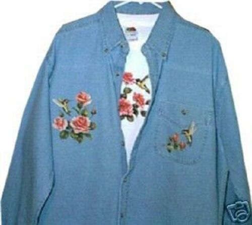 Hummingbirds and Roses Denim and Matching Tshirt  Sizes
