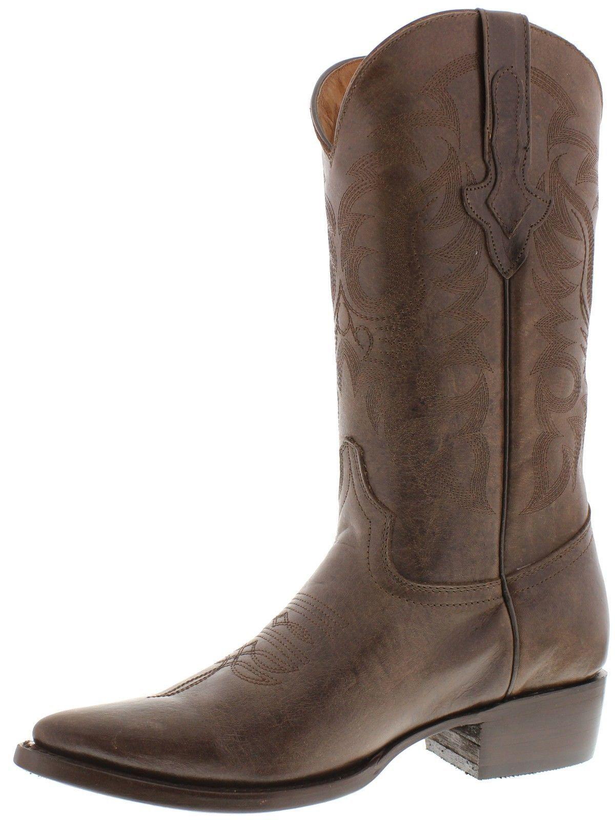 Mens Original braun Full Full Full Plain Leather Western Cowboy Stiefel 5569ca