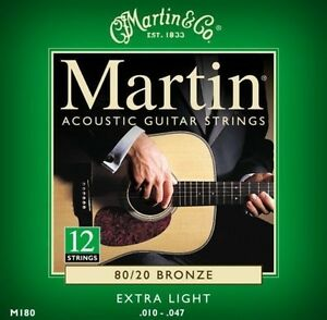 MARTIN M180 EXTRA LIGHT 80/20 (2-SETS) 12 STRING BRONZE ACOUSTIC GUITAR STRINGS 729789101806