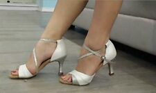 New Women White Satin Latin Salsa Ballroom Dance Shoes High Heels All Size