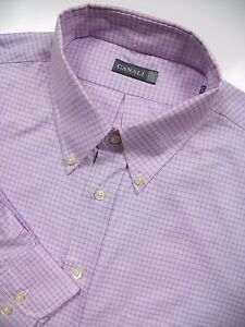 CANALI-NWOT-MENS-18-5-XXL-LUXURY-DRESS-SHIRT-PURPLE-BLUE-CHECK-LUX-MADE-IN-ITALY