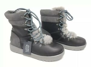 83724ce86ee Details about UGG Australia VIKI WATERPROOF EXPOSED SHEARLING LACE UP Boot  1017493 Metal Grey+