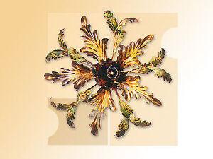Plafoniere Con Foglie : Plafoniera lampadario in ferro battuto con foglie colorate 1 luce ebay