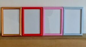"""Red or Duck Egg Blue 6/"""" x 4/"""" NEW Narrow Picture Photo Frame Copper Matt Pink"""