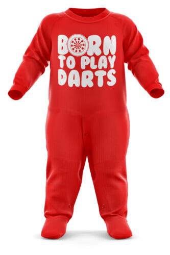 Born To Play Darts Babygrow Baby Romper Suit Babies Dartboard Christmas Gift Red