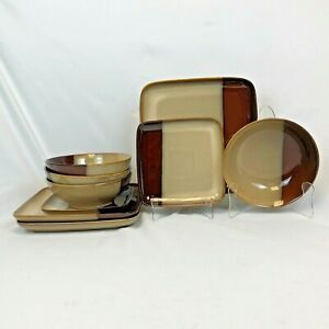 ODD-LOT-9-PIECES-SANGO-ECLIPSE-BROWN-DINNERWARE-DINNER-PLATE-LUNCH-MUG-BOWL