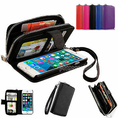 New PU Leather Magnetic Zip Flip Wallet Card Case Cover for Apple iPhone 5 5G 5S