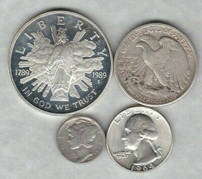 Four Usa Silver Coins In Used To Near