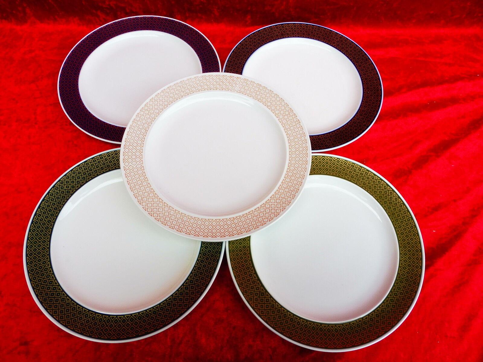 5 belles assiettes à soupe __ Rosenthal __ avec gros en couleur bord ___
