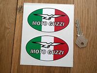 """MOTO GUZZI Bike STICKERS Tricolore Oval 4"""" Pair Later Style California Breva"""