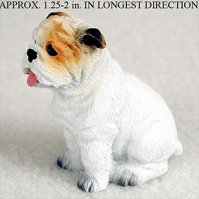 Bulldog Mini Resin Dog Figurine Statue Hand Painted White