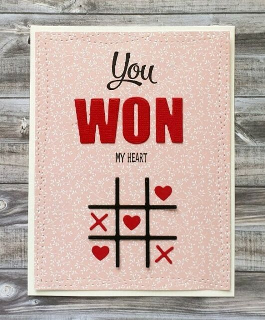 Handmade Valentine's Day Card You Won My Heart X's and O's Game of Tic-Tac-Toe