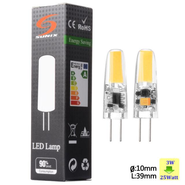 2x Sunix G4 LED 3W Light COB lamp bulb Silicone Crystal Dimmable AC DC 12V