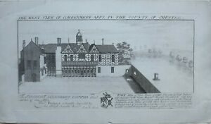 1727-ANTIQUE-PRINT-WEST-VIEW-COMBERMERE-ABBEY-CHESTER-ROBERT-SALUSBURY-COTTON