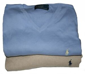 Ralph-Lauren-Pima-Cotton-V-Neck-Small-Pony-Pullover-Gr-XL-amp-XXL-in-2-Farben