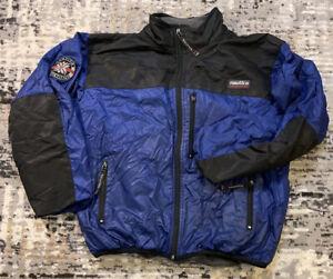 Men's Nautica Competition Fleece Lined Jacket, Black & Blue Nylon, Size XXL