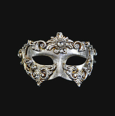 Máscara De Venecia Columbine Barocco Plateado Auténtico Papel Mache 200 Escasean