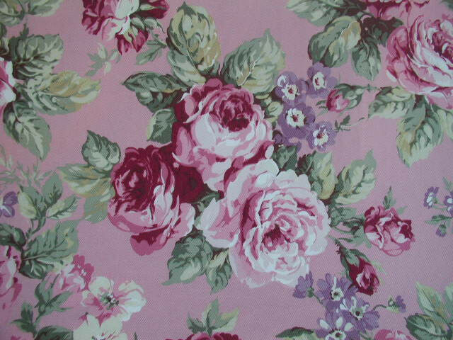 "Beautiful Yuwa Barkcloth Twill Pink Cabbage Roses on PINK *Private""  chris55pink"