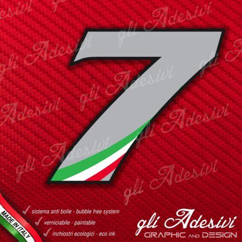 Adesivo Stickers NUMERO 7 moto auto cross gara Grigio /& Tricolore 5 cm
