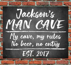 PERSONALISED MAN CAVE METAL SIGN GIFT PRESENT WATERPROOF GARAGE SHED DAD FATHERS