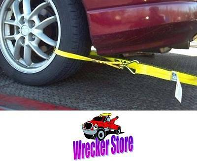 4 Qty ROLLBACK CARRIER SPORTS CAR Damage Free TIE DOWN STRAPS **Easy to Use**