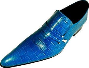 ORIGINAL CHELSY BLAUE BLUE KROKO HANDARBEIT LEDER SCHUH DESIGNER LEDERSLIPPER 41