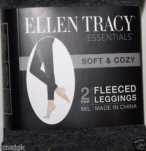 b12e8e969d0a1 Image is loading Ellen-Tracy-M-L-2-Pair-Fleeced-Leggings