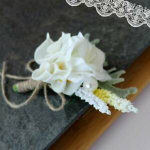 05f5a28243 Details about Wedding Bridal Groom Calla Lily Artificial Flower Corsage  Groomsman Party Brooch