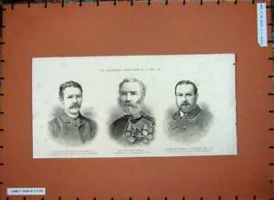 Original-Old-Antique-Print-Ridgeway-Major-Mcblain-Stewart-War-1885-Afghan-19th