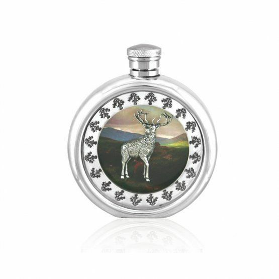 House Of Tweed Hip Flask  3oz Stag Picture (SF665)  hottest new styles