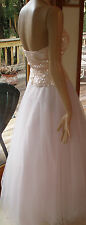 LOVELY CACHE CINDERELLA PALE PINK SEQUIN BODICE S/2 HALTER GOWN