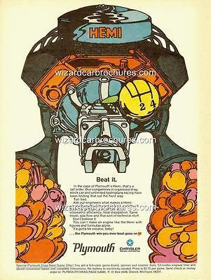 1968 PLYMOUTH GTX MOPAR HEMI A3 POSTER AD ADVERT ADVERTISEMENT SALES BROCHURE