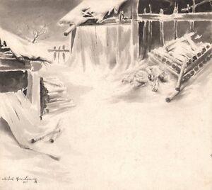 Michel-Korochansky-Lavis-d-039-encre-pour-l-039-arbre-de-Noel-de-Dostoievsky-1895