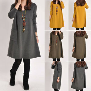 Details about Casual Women Dress Vintage Mini Winter Long Sleeve Tunic  Plain Plus Size Tops